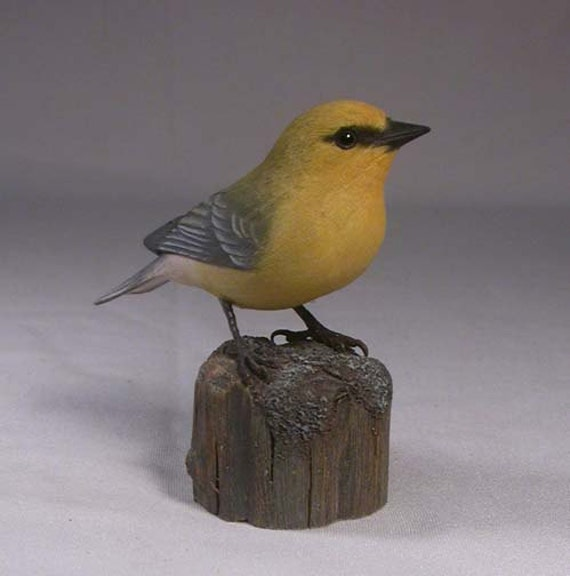 Blue-winged Warbler Hand Carved Wood Bird