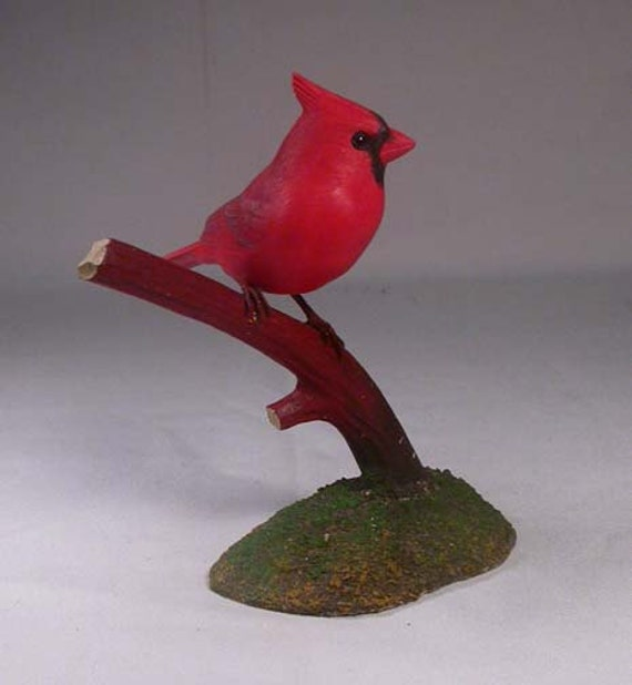 4-3/4 inch Male Cardinal on branch Hand Carved Wooden Branch Bird