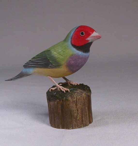 Gouldian Finch (red-head) Hand Carved Wooden Bird