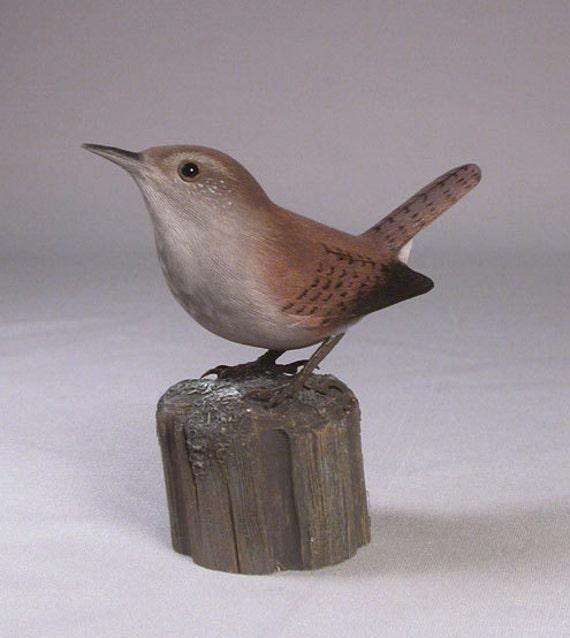 Bewick's Wren Hand Carved Wooden Bird