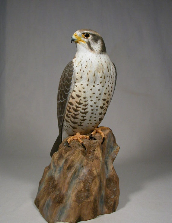 Inch prairie falcon hand carved wooden bird carving