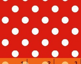 Windham Fabrics Basic Brights Deep Red With Half Inch White Polka Dots Fabric.........1 Yard
