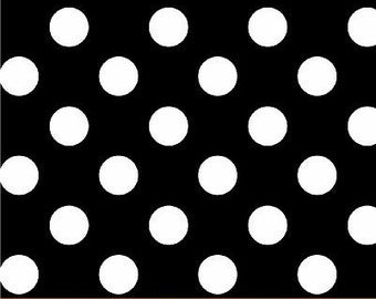 Windham Fabrics Basic Brights Crisp BLACK Half Inch White Polka Dots Fabric.........1 Yard