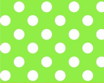 Windham Fabrics Basic Brights LIME With Half Inch White Polka Dots Fabric.........1 Yard