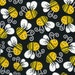 Reserved Pam Edens....Timeless Treasures Funny BUMBLE BEES On Black BUG Bee Fabric.....1.5 Yard...New