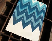 Blue Chevron Pattern Letterpress Postcard