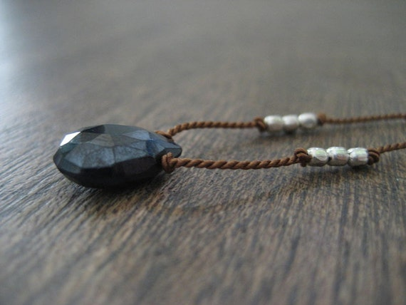 Necklace Hand Knotted on Silk Cord - Black Spinel
