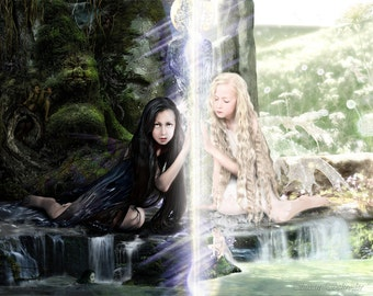 Ever Sisters by Susan Schroder Mythic Fantasy Fairy Art Print
