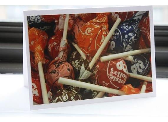 Tootsie Pop Photo Greeting Card- Blank Inside- FREE SHIPPING