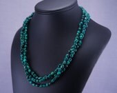 Bold Malachite Gemstone Multi-Strand Necklace