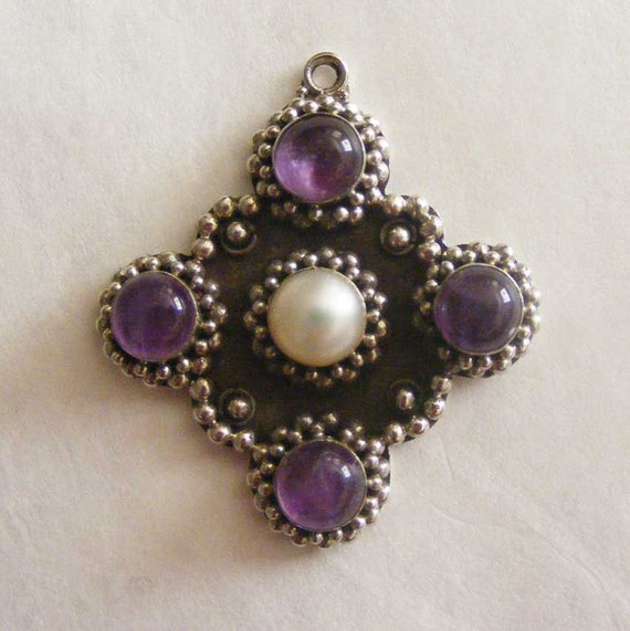 Sterling silver amethyst and pearl cross pendant