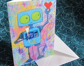 Robot with USB Heart - Greeting Card
