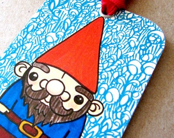 Gnome Bookmark with Red Ribbon
