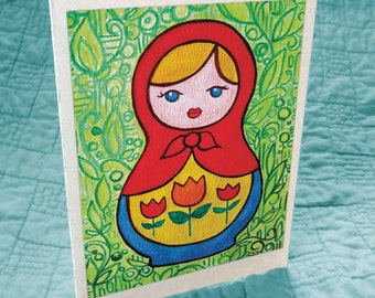 Tulip Matryoshka Greeting Card