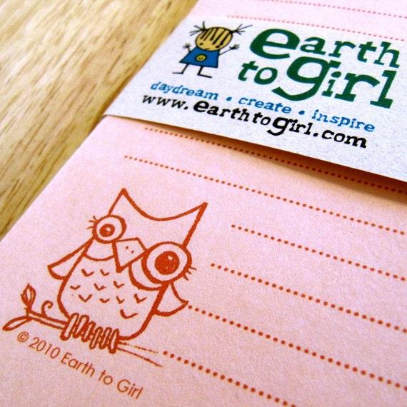 Peach Owl Stationery Set