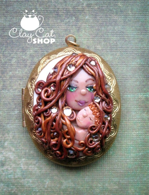 Mother and baby locket by ClayCatShop - One of a kind - Can be custom made
