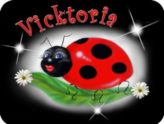 "Ladybug Mouse Pad Sweetie Personalize Gifts Office Computer Girls Ladies Teens Ladybugs 1/4"" Thick Mousepad"