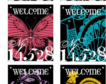 16X20 in WELCOME or FAMILY NAME House Number Door Hanger Sign -- 7 ANIMAL DESIGNS to choose from