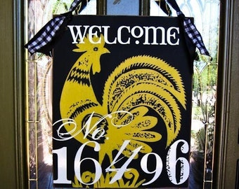 16X20 Welcome Sign -  House Number Door Hanger Sign -- 7 Designs to choose from
