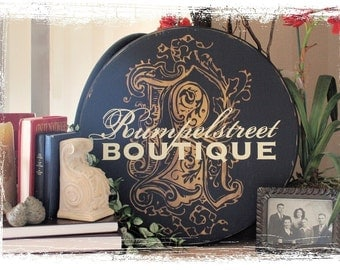 """24"""" Round Personalized Family Name & Initial Established Sign  --  Vintage Surname Style"""