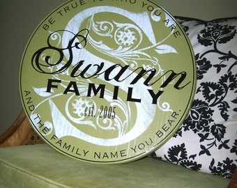 "18"" Round Established Family Name Sign with Personalized Perimeter Quote (Additional sizes available at my Etsy shop - take a look)"