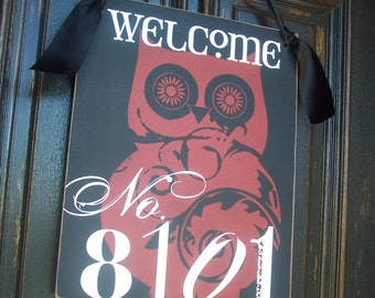 16X20 in Personalized WELCOME House Number Door Hanger Sign -- seven animals