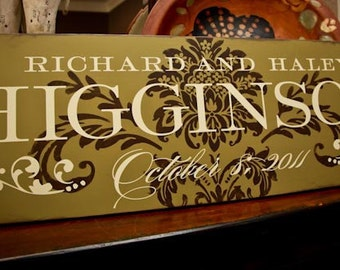 12x36 Personalized Established Family Name Sign  --  SOUTHERN CHARM Style