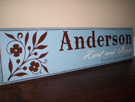 10x32 Personalized Established Family Name Sign  --   FOLK SURNAME Style