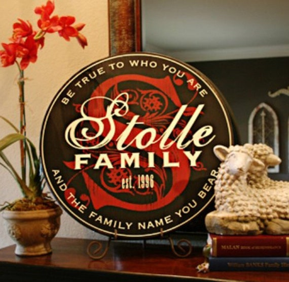 "24"" Round Folk Style PERSONALIZED Family Name Sign -- custom colors"