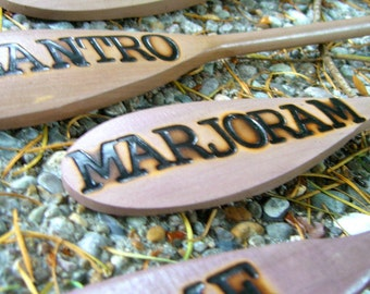 Wooden Spoon Herb Garden Markers: Dill, Cilantro, Marjoram and Thyme (Set of 4)