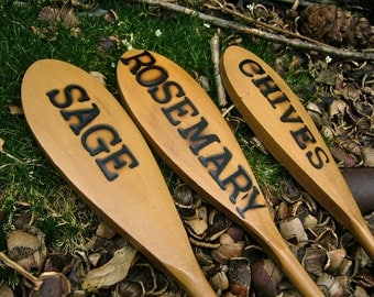 Wooden Spoon Herb Garden Markers: Chives, Rosemary and Sage (Set of 3)