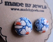 Spring Fling Fabric Covered Button Earrings