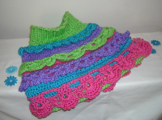 RESERVED for JULIE - Crochet Poncho - Rainbow Little Girl's Ruffle Capelet