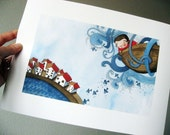 Illustration, The Boy and The Sea (Up), Giclee Print