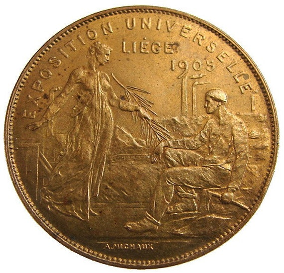 1905 ANTIQUE BELGIUM MEDAL lion of Belgian Worlds exposition fair Bronze Medal