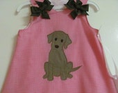 Hop Pink Gingham A-Line Dress with Brown Lab Puppy Applique. Size 3mo-4T. Free monogram and  shoulder bows.