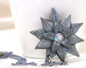 polymer clay silver grey star necklace