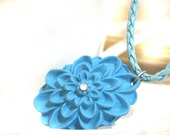 Turquoise pale blue polymer clay necklace