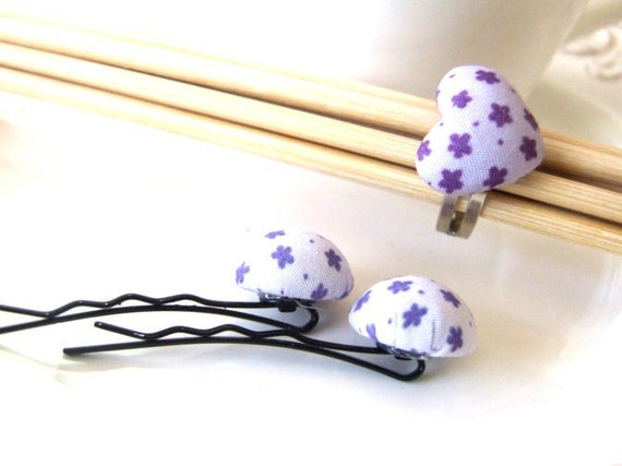 purple fabric covered cabochon bobby pins and  heart ring set