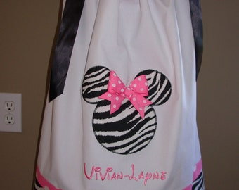 Minnie Mouse Pillowcase Dress Pink and White Zebra (extra for personalization)