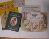 Beatrix Potter, Two books and three catalogs showing her figurines.