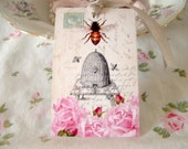 Bee Skep or French Skep D'Abeille and Pink Roses Gift Tags Paris