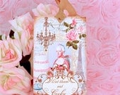 Marie Antoinette Let Them Eat Cake Gift Tag Set tied with Vintage Silky Rayon Seam Binding Ribbon plus an Extra Yard