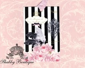 Paris Fashion Black and Cream Stripes with Pink Roses Gift Tags tied with Vintage Seam Binding Ribbon plus an Extra Yard FREE