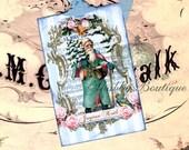 Joyeux Noel ..Pink / Aqua Santa Claus .. Blue .. French Inspired .. Pink Roses .. Merry Christmas .. Bird .. Sheet Music .. Gift Tags .. ECS