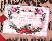 Invitation to Marie Antoinettes Christmas Masquerade Ball .. Ballade de Noel .. Pink Roses .. Bird .. Shoe .. Cartouche .. Gift Tags .. ECS