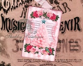 Pink Christmas Tree w/ Aqua Star .. Pink Roses .. Bird .. Sheet Music .. Holly and Berries .. Cartouche .. Shabby .. Gift Tags .. ECS