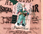 Joyeux Noel .. Merry Christmas .. French Inspired .. Pink Aqua Santa Claus .. Antique Paris Postcard .. AB Glitter.. Gift Tags .. ECS