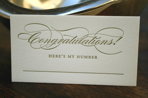 Congratulations Here's my number (calling cards by Tiny Pine Press)