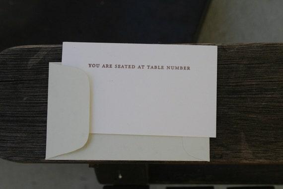 letterpress escort cards - by Tiny Pine Press